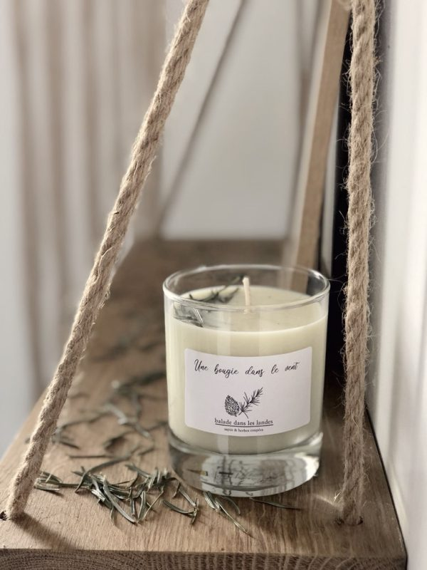 Bougie à la cire de soja parfumée naturelle et végétale à l'odeur irrésistible de pin des Landes pour un voyage au coeur de la pinède.