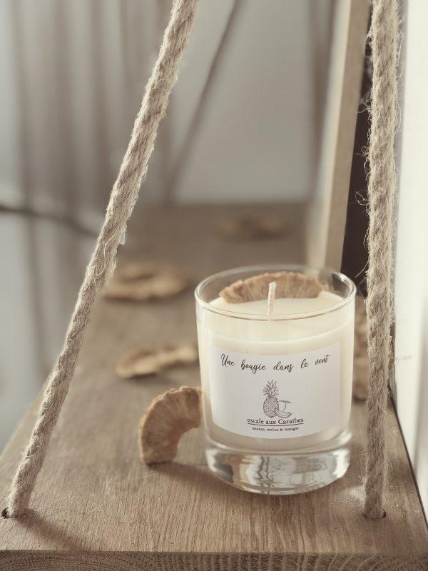 Bougie parfumée à la cire de soja naturelle et végétale au parfum de fruits exotiques pour un voyage vers nos destinations de vacances préférées - Une Bougie Dans Le Vent