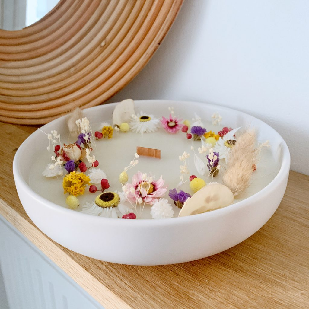 Bougies fleuries en collaboration avec Caroline de l'Atelier Charmant