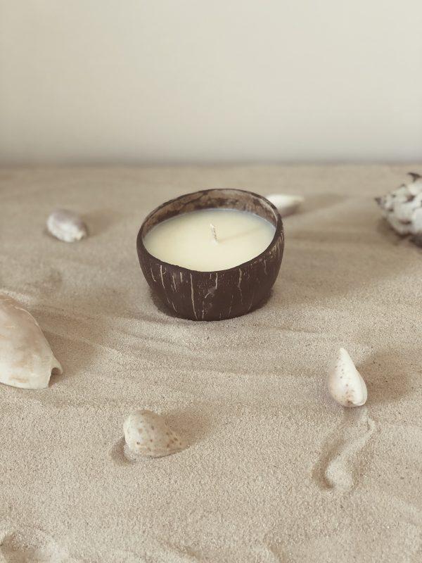 Découvrez nos bougies de l'été dans leurs coques de noix de coco. Elles sont coulées à la cire de soja et au parfum de Grasse de votre choix.