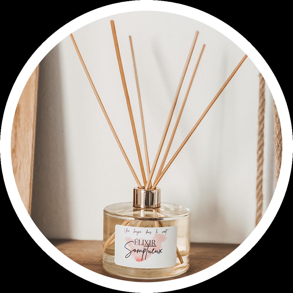 Les diffuseurs d'ambiance sont un moyen naturel et écologique de parfumer délicatement votre intérieur. Grâce à leurs 6 bâtonnets en rotin, profitez d'une odeur enivrante dans votre intérieur tout au long de la journée. Ils vous sont proposés en format de 200ml pour une durée optimale.